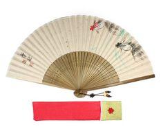 Chinese KOREAN Folding Hand FAN ORIGINAL Asian ORIENTAL Watercolor Painting_GOLD