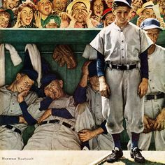 Marmont Hill The Dugout Norman Rockwell Painting Print on Canvas
