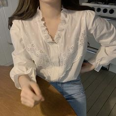 Women White V neck Blouses Elegant Vintage Patchwork Hollow Out Lace Shirts Embroidery Women Blouses Top Source by vintage Korean Girl Fashion, Casual Outfits, Fashion Outfits, Mode Chic, White V Necks, Vintage Shirts, Vintage Blouse, Vintage Clothing, Women's Clothing