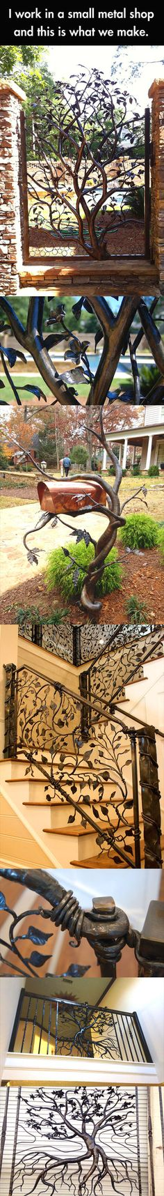 This incredible metal work would make a memorable entry to the front door from the street.