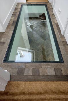 glass floor glasboden-im-hause - flooring Floor Design, House Design, Casa Petra, Escalier Design, Safe Room, Hidden Rooms, Glass Floor, Secret Rooms, Roof Light