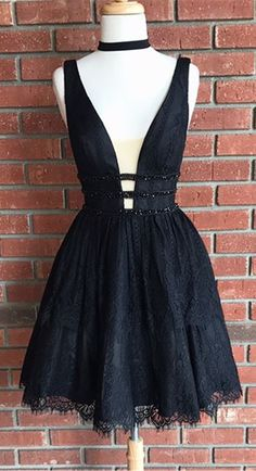 little black dress, 2017 short black dress, black lace homecoming dress, party dress, dancing dress