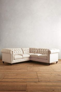 Belgian Linen Lyre Chesterfield Sectional, Hickory - anthropologie.com