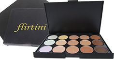 FLIRTINI 3D Look Cream Foundation and Camouflage Concealer 15 color makeup palette Versatile uses for CheeksLipsand Eyes *** Learn more by visiting the image link.