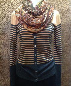 August Silk - Striped button up sweater - $60