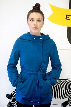 New Coats are here!!    The Blue Hooded Coat  Zipper Closure  w/Pleated by yellowcake, $328.00