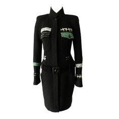 Chanel 09A Black / Green Jacket Dress with Suede Belt   From a collection of rare vintage jackets at https://www.1stdibs.com/fashion/clothing/jackets/