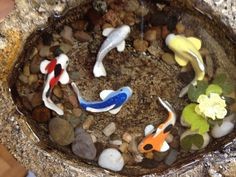 Miniature Koi Pond A Fairy Garden by UnderTheMushroomCap on Etsy My Fairy Garden, Fairy Gardens, Koi Ponds, Fish Crafts, Garden Yard Ideas, Fairy Garden Accessories, Cast Stone, Fairy Doors, Fake Plants