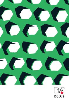 Everyday we'll be sharing a new print straight from @DVF.  Today's gorgeous green print is 'Hex Dot'. This graphic print with its bold use of shadows recalls some of @DVF first designs  #DVFlovesROXY
