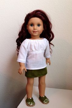 "American Girl top and skirt 18"" http://www.etsy.com/listing/164107186/peasant-shirt-olive-skorts-and-toms"