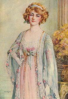 """Lily Elsie in """"The Merry Widow"""" - 1908 artwork by Talbot Hughes - Lily Elsie, Vintage Prints, Vintage Art, Vintage Ladies, Robes Vintage, Vintage Outfits, Vintage Pictures, Vintage Images, Merry Widow"""