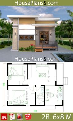 Small House Design Plans 6x8 with 2 Bedrooms - House Plans Sam 2 Bedroom House Plans, Beach House Plans, Dream House Plans, Modern House Plans, Small House Plans, Dream Houses, Small Bungalow, Bungalow House Design, Simple House Design