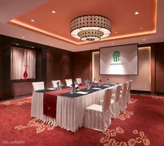 Resort Meeting Room Area Red White Decor Interior Plus Modern Ceiling Design With Lighting Exotic Banyan Tree Lijian Resort Combining with Modern Luxury Interior Design
