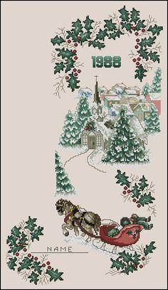 """Сачать схему вышивки """"Victorian Holly Christmas Stocking"""""""
