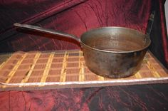 Antique Rare xx-Large Deep FORGED STEEL Pan, Long Handled Cooking Stock Pot 16qt