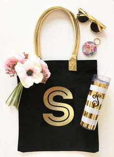 A personal favorite from my Etsy shop https://www.etsy.com/listing/514917033/gold-monogram-tote-bag-gold-initial