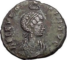 Eudoxia crowned by Hand of God 395AD Authentic Ancient Roman Coin Victory i55414