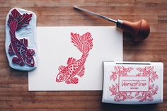 Lucky Koi  Handcarved & Handprinted Postcard by PaprikaPaperGoods