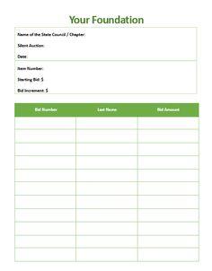 free printable silent auction template silent auction bid sheet