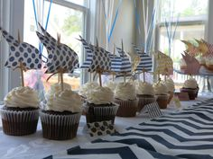DIY Nautical Baby Shower Cupcakes by @Sarah Ashlock
