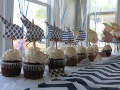 DIY Nautical Baby Shower Cupcakes by @Sarah Ashlock