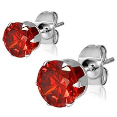 Whether you celebrating your January birthday or your simply dressing up your outfit these studs are sure to please. Each stud features a large siam red cubic zirconia stone that shines from every an...