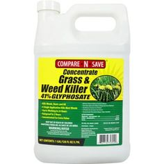 Compare-N-Save Concentrate Grass and Weed Killer, Glyphosate, - Contains glyphosate. Get to the root and kill grass and weeds with Compare-N-Save Glyphosate Concentrate Grass and Weed Killer. Grass Weeds, Weeds In Lawn, How To Kill Grass, Low Maintenance Yard, Weed Killer Homemade, Pulling Weeds, Weed Control, Lawn Care, Lawn And Garden