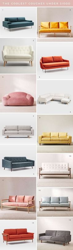 The Coolest Couches Under $1,000 #couches #sofa #modern #homedecor #interiordesign