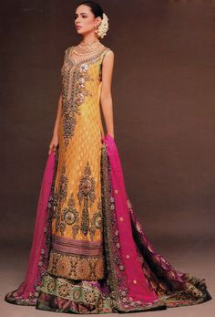 Golden/Magenta/Shocking Pink Ankle Length Embroidered Crinkle Chiffon Wedding Special Dress by PakRobe.com