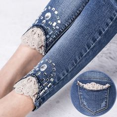 Online Shop Hot Lace Ripped Women Jeans Pants Blue Skinny Skim Jeans Woman Elastic Diamond Pencil Pants Rhinestone Women Jeans With Holes Aliexpress Mobile Ripped Jeggings, Ripped Skinny Jeans, Jeans Style, Shirt Style, Casual Jeans, Diy Fashion, Ideias Fashion, Skinny Jeans Damen, Ripped Women