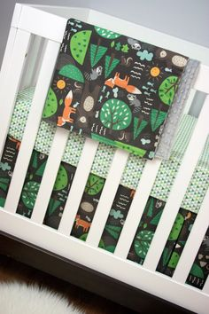Forest Animals, Woodland, Fox, Raccoon, Bear, Crib Bedding, Baby Bedding, Bumperless Cribset Brown Green Orange Gray by modifiedtot on Etsy https://www.etsy.com/listing/196280563/forest-animals-woodland-fox-raccoon-bear