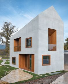 The larger-than-it-looks double house, Geneva, by Clavienrossier Architectes.like a dolls house but a visionary spendour Architecture Résidentielle, Contemporary Architecture, Russian Architecture, Classical Architecture, Sustainable Architecture, Double House, Design Exterior, Villa, Home Fashion