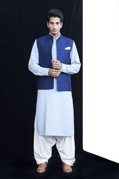 Navna Mehra, pale blue powder blue kurta with nehru jacket and white dhoti
