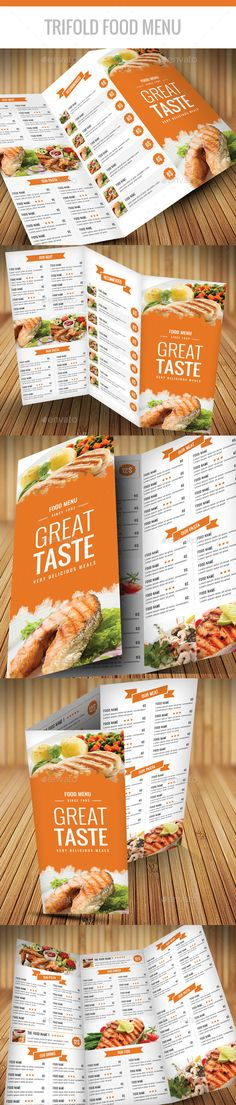 Trifold Food Menu A4 — Photoshop PSD #flyer #menu templates • Available here → https://graphicriver.net/item/trifold-food-menu-a4/12086772?ref=pxcr