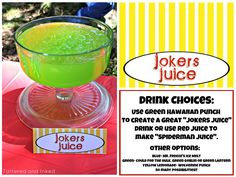 Hulk Juice instead Tattered and Inked: Superhero Food Ideas & Free Printables!