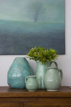 Celadon Clusters- coastal style, but the turquoise color would look good in my southwest home