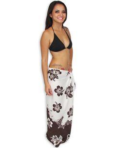 Check out the deal on Hawaiian Sarong with Brown and White Hibiscus at Shaka Time Hawaii Clothing Store Free Shipping from Hawaii #hawaiianclothes #sarong #beachwrap #bikini
