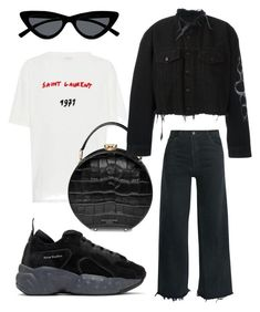 """CircleBlackBag"" by robi-fiserova on Polyvore featuring Yves Saint Laurent, Aspinal of London, RE/DONE, Acne Studios, Le Specs and County Of Milan"