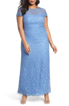 Tadashi Shoji Cap Sleeve Lace Gown (Plus Size) available at #Nordstrom