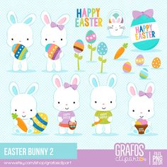 Please, take a minute to read the policies before you purchase. EASTER BUNNIES 2 Digital Clipart set -You will receive: Scrapbooking Freebies, Digital Scrapbooking, Happy Easter, Easter Bunny, Rabbit Clipart, Easter Crafts, Etsy Seller, Clip Art, Bunnies