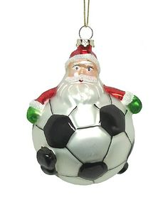 """$3.99-$8.99 4"""" Playful Santa Claus Soccer Ball Glass Christmas Ornament - From the Happy Holidays Collection Item #92814 Fun, witty ornament features Santa Claus as a soccer ball Accented with glitter Dimensions: 4"""" Diameter Material(s): Glass Comes ready-to-hang http://www.amazon.com/dp/B002LBNF44/?tag=pin2wine-20"""