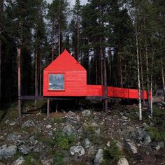 ~ Red in coloring, The Blue Cone cabin is covered in shingles made of laminated birch wood. Designed in 2010 by SandellSandberg, the stilted cabin is linked to the ground by a gently sloping ramp & provides an accessible cabin for guests with disabilities. It is one of 7 treehouse cabins at the Treehotel in Harads, Sweden. Set up by Kent Lindvall & his wife Britta in 2010, the Treehotel offers themed lodgings for tourists venturing north of the Arctic Circle in search of the Northern Lights.