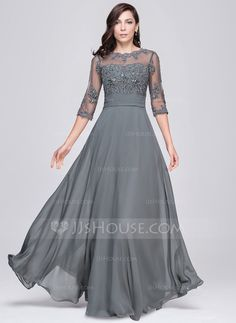 A-Line/Princess Scoop Neck Floor-Length Chiffon Tulle Evening Dress With Ruffle Beading Appliques Lace Sequins (017064186) - JJsHouse