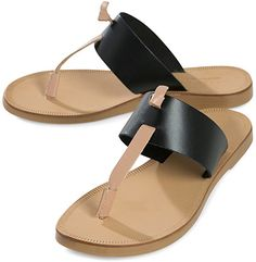 Pieces Knotted Thong Leather Sandals in black and nude (Joie Nice A La Plage dupes)