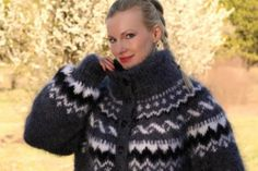 New Hand Knitted Mohair Coat GRAY Handcrafted Fuzzy Soft Cardigan by SUPERTANYA
