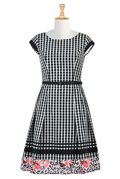 I <3 this Gingham check floral border cotton dress from eShakti