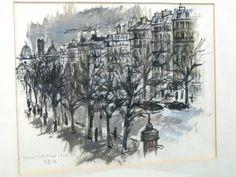 Aquarell LE BOULEVARD SAINT - MICHEL PARIS 1963