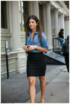 Denim blouse and pencil skirt for spring style