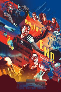 The World's End Mondo poster by Kevin Tong. Kevin Tong's Mondo poster for Edgar Wright's The World's End starring Simon Pegg and Nick Frost. End Of The World, 8k Tv, Omg Posters, Non Plus Ultra, Plus Tv, Simon Pegg, Kunst Poster, Alternative Movie Posters, New Poster
