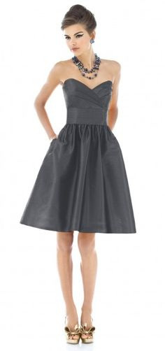 Pantone driftwood gray bridesmaid dress. if this came in long if might be a winner